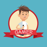 Gamer с backgroung сини знамени консоли кнюппеля видео- Стоковые Изображения