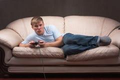 困的gamer 免版税库存照片