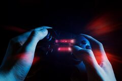 Free Gamer Boy With Hand Holding The Joystick Controller Electronic For Playing Game With Online Network Connection Technology Device Royalty Free Stock Images - 178477659
