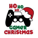 Gamer Christmas funny text with controller, and Santa`s cap