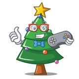 Gamer Christmas tree character cartoon. Vector illustration Royalty Free Stock Photo