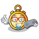 Gamer chronometer character cartoon style Royalty Free Stock Photos