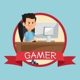 Gamer computer online desk banner blue backgroung Stock Image