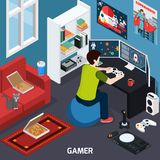 Gamer Isometric Composition. Gamer with control panel near screen during computer gaming in home interior isometric composition vector illustration Royalty Free Stock Photos
