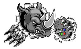 Gamer de rhinocéros tenant le contrôleur Breaking Background Illustration de Vecteur