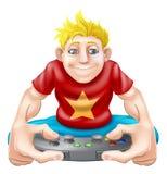 Gamer, der zu viel Spielkonsole spielt Lizenzfreie Stockbilder