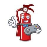 Gamer fire extinguisher mascot cartoon. Vector illustration Stock Images