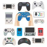 Gamer gamepad and gaming controller device vector isolated icons Stock Images