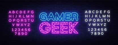 Gamer Geek Neon Text Vector. Gaming neon sign, design template, modern trend design, night signboard, night bright. Advertising, light banner, light art. Vector royalty free illustration