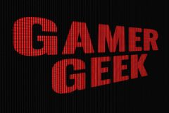 Gamer Geek red word on dark screen. Tv effect royalty free illustration