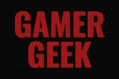 Gamer Geek word on dark screen. Tv effect royalty free illustration