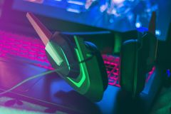 Gamer Girl Setup with Headset royalty free stock images
