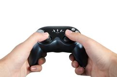 Gamer holding game pad in hands. Isolated game play controller Stock Image
