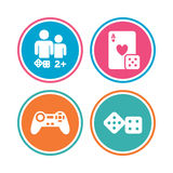 Gamer icons. Board games players. Royalty Free Stock Photography