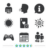Gamer icons. Board games players. Gamer icons. Board games players signs. Video game joystick symbol. Casino playing card. Information, go to web and calendar vector illustration