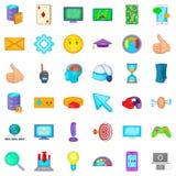 Gamer icons set, cartoon style. Gamer icons set. Cartoon style of 36 gamer vector icons for web isolated on white background Stock Photography