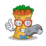 Gamer kebab wrap character cartoon. Vector illustration royalty free illustration