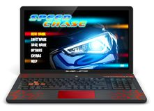Gamer laptop with video game. Creative abstract computer gaming and PC entertainment technology concept: 3D render illustration of modern black gamer laptop or royalty free illustration
