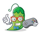 Gamer peas mascot cartoon style. Vector illustration Royalty Free Stock Photo
