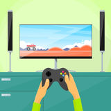 Gamer Play Video Game Tv Screen Hold Pad Stock Image
