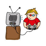 Gamer playin Videospiel lokalisiertes Ikonendesign Stockfoto