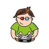 Gamer playin Videospiel lokalisiertes Ikonendesign Stockbild