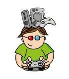 Gamer playin Videospiel lokalisiertes Ikonendesign Stockfotografie