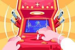 Gamer playing sea battle arcade video game. Retro slot machine with joystick. Flat. Vector illustration royalty free illustration