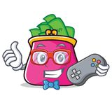 Gamer purse character cartoon style. Vector illustration Royalty Free Stock Images