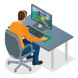 Gamer que joga no PC Gamer novo concentrado nos fones de ouvido e nos vidros usando o computador para jogar o jogo Homem que olha ilustração do vetor