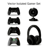 Gamer set: four controllers, webcam and headphone Stock Photos