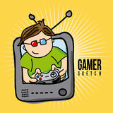 Gamer sketch Royalty Free Stock Photography