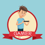 Gamer smartphone video playing banner blue backgroung Stock Images