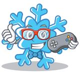 Gamer snowflake character cartoon style Royalty Free Stock Photos