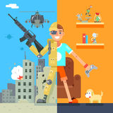 Gamer Soldier immersion virtual reality Icon Living Room battlefield Flat Design Character Vector Illustration Stock Photos