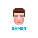 Gamer twarz - logo w mieszkanie stylu Ludzkiej głowy znak Fajtłapy pojęcia ilustracja elementy projektu podobieństwo ilustracyjny Zdjęcia Stock