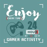 Gamer Typography Design for t-shirt. Typography for t-shirt,vector illustration art,new design Stock Photography