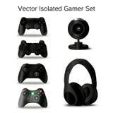 Gamer ustawiający: cztery kontrolerzy, kamera internetowa i hełmofonu, Zdjęcia Stock