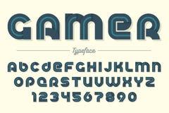 Gamer vector decorative font design, alphabet, typeface, typogra Royalty Free Stock Photo
