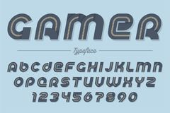 Gamer vector decorative italic font design, alphabet, typeface, Royalty Free Stock Photo