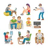 Gamer vector man or woman with child character playing with virtual reality glasses illustration set of people gaming in. Virtually game isolated on white Royalty Free Stock Images