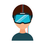 Gamer with virtual reality glasses Stock Photo
