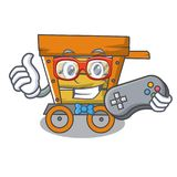 Gamer wooden trolley mascot cartoon. Vector illustration vector illustration
