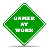 Gamer at work sign. Isolated on white background Royalty Free Stock Image