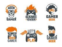 Gamers badges. Joystick video gaming old school labels for smart geek vector template. Logo for game club with joystick controller illustration stock illustration