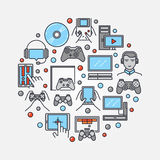 Gamers round flat illustration Royalty Free Stock Photography