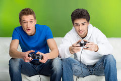 Free Gamers With Joystick. Royalty Free Stock Image - 33696756