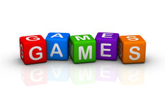 Games. (colorful buzzword cubes series vector illustration