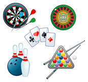 Games. Set of various games on a white background stock illustration