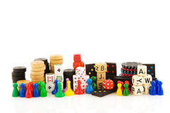 Games. All attributes to play board games isolated over white Royalty Free Stock Images